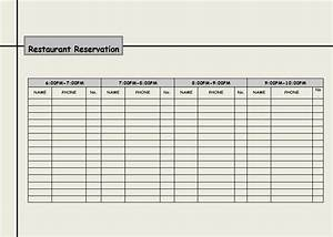 Table reservation template pictures to pin on pinterest for Restaurant reservation sheet template