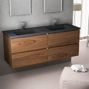 Meuble En Pierre : meuble double vasque en pierre pizarra 121 ou 141 cm ch ne clair cordoue ~ Teatrodelosmanantiales.com Idées de Décoration