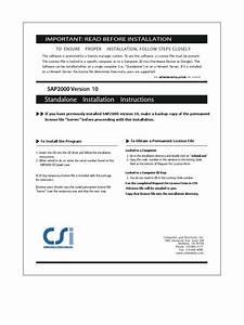 Standalone Installation Instructions  Sap2000 Version 10