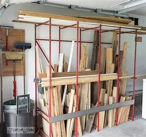 metal rack storing pallet wood on FunkyJunkInteriors net