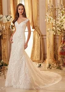 elegantly embroidered lace on tulle wedding dress style With embroidered wedding dress