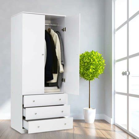 Wardrobe Cabinet For Hanging Clothes by Kinbor Two Door Wardrobe Cabinet Armoire With Three