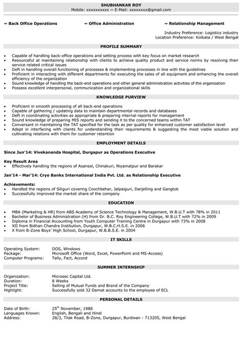 operations executive operations manager resume samples