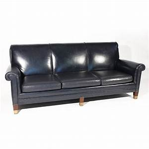 classic navy blue leather sofa at 1stdibs With blue leather sofa