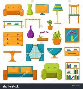 Living Room Interior. Living Room Furniture. Set Of Vector ...