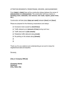 Construction Delay Letter Template