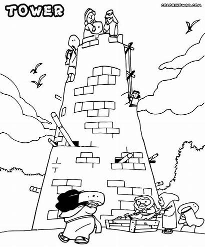 Tower Babel Coloring Pages Sheet Printable Water