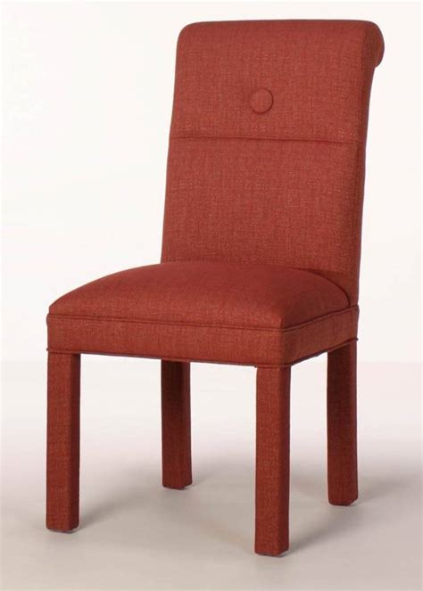 scroll back parson chair with button accent custom