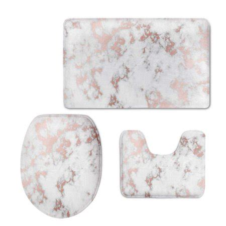 chaplle rose gold marble  piece bathroom rugs set bath
