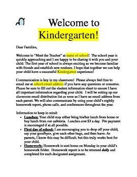 preschool teacher welcome letter welcome letter for quot meet the quot by pope tpt 631