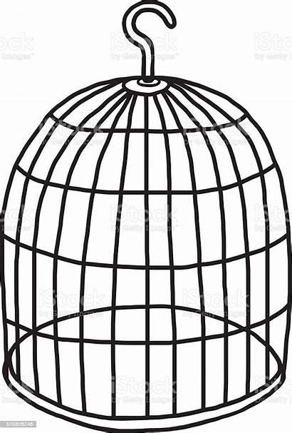 Cage Bird Empty Illustration Birdcage Vector Cartoon
