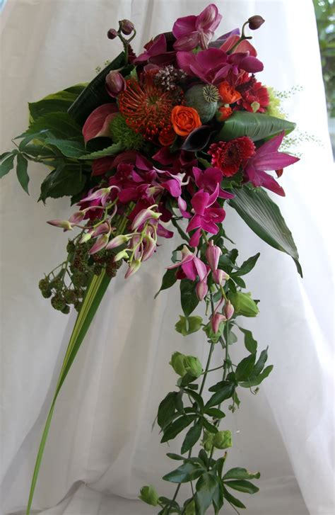 The Flower Magician Vivid Wedding Bouquet In Magenta And Mango