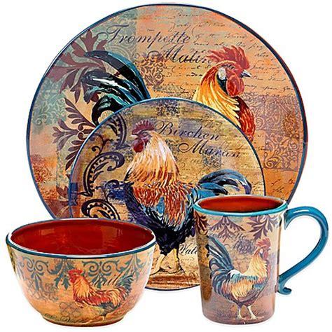 certified international rustic rooster dinnerware