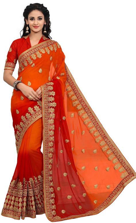 buy onlinefayda embroidered fashion georgette orange red