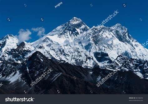 Everest Changtse Lhotse Nuptse Peaks Top Stock Photo