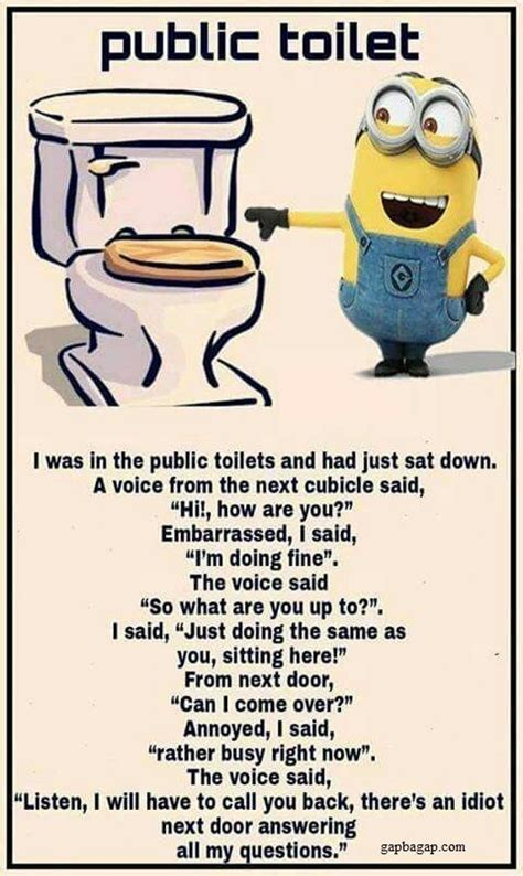 Public Bathroom Meme - funny minion joke about public toilets funny pinterest minion jokes funny minion and