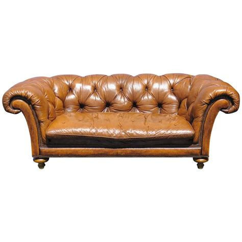 Tufted Velvet Sofa Furniture by Baker Leather Tufted Sofa For Sale At 1stdibs