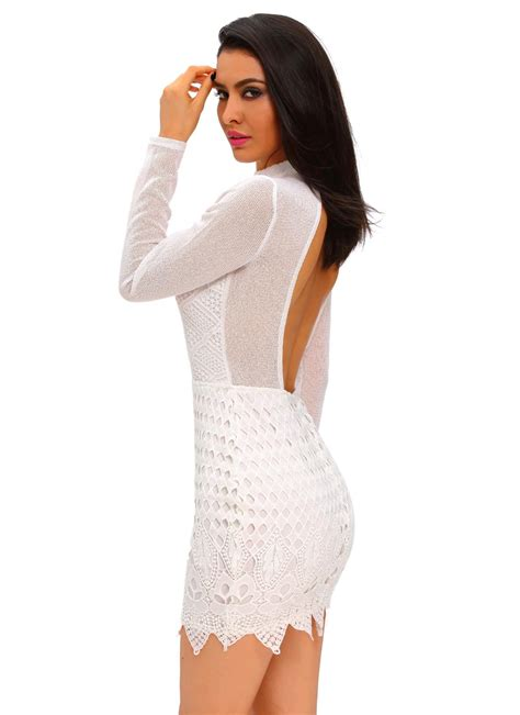 White L Long Sleeve Keyhole Backless Lace Dress Chicuu