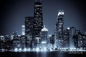 Chicago At Night With Hancock Building Photograph by Paul