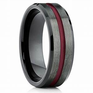 Tungsten wedding band gunmetal tungsten wedding ring for Mens gunmetal wedding rings