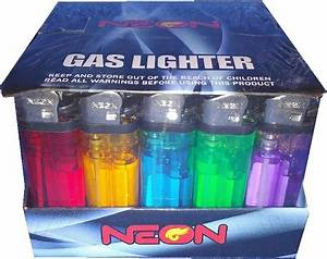 50 Neon Premium Disposable Butane Gas Lighters