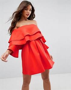 asos asos long sleeve ruffle off shoulder mini dress With asos robe cocktail