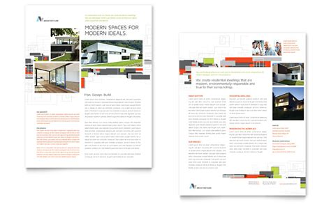 Architectural Design Datasheet Template  Word & Publisher
