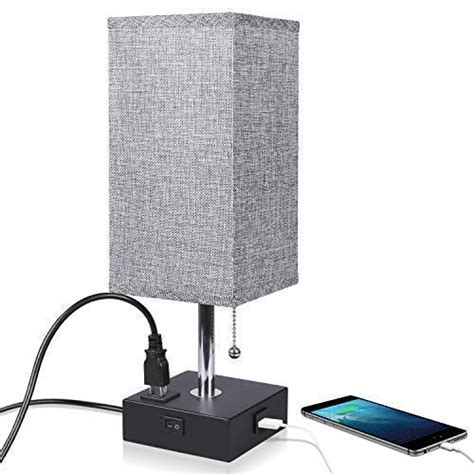Nightstand Lamp Built in USB Charging Port & Power Outlet