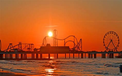 Best city - Galveston - Sunset Over Pleasure Pier 1280x800