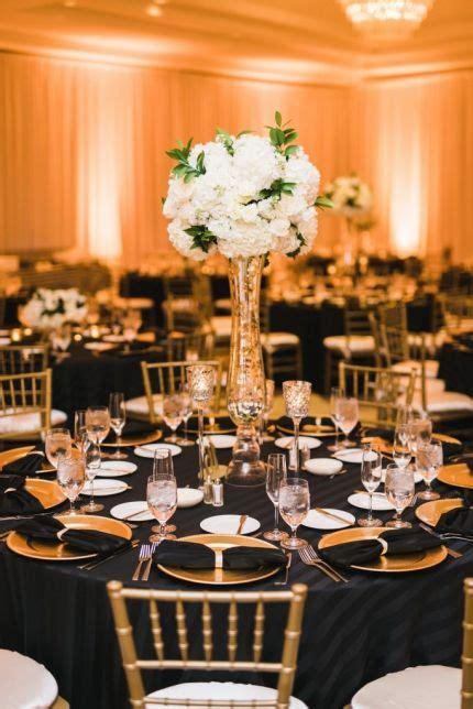 black gold  white wedding reception decor hydrangea