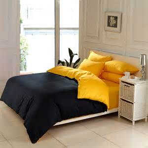 solid color home textile black and yellow 4pc queen king size bedding sets cotton duvet