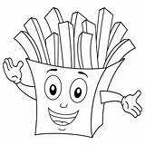 Fries Coloring French Mcdonalds Mcdonald Paper Ronald Bag Chips Potato Cartoon Fried Getdrawings Smiling Printable Getcolorings Illustration Colorings Isolated sketch template