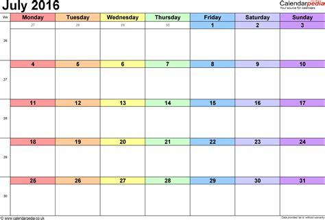 2016 calendar template july 2016 printable calendar printable calendar templates