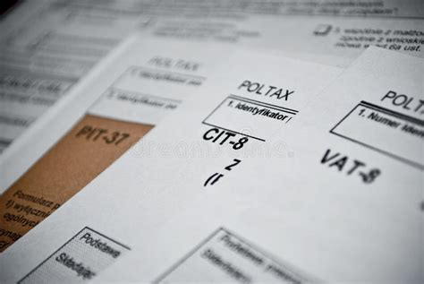 Blank Income Tax Forms. Polish Forms Pit Cit And Vat Stock