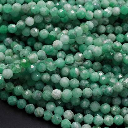 Emerald Genuine Beads Natural Gemstone Faceted Round