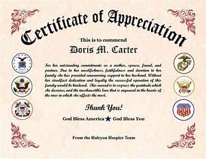 Military Wife Appreciation Certificate   Veterans day ...