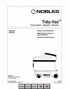 Download Free Pdf For Nobles Tidy Vac Vacuum Manual