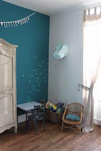 Déco Chambre Bleu Canard : chambre enfant gar on vintage mur bleu canard deco ~ Melissatoandfro.com Idées de Décoration