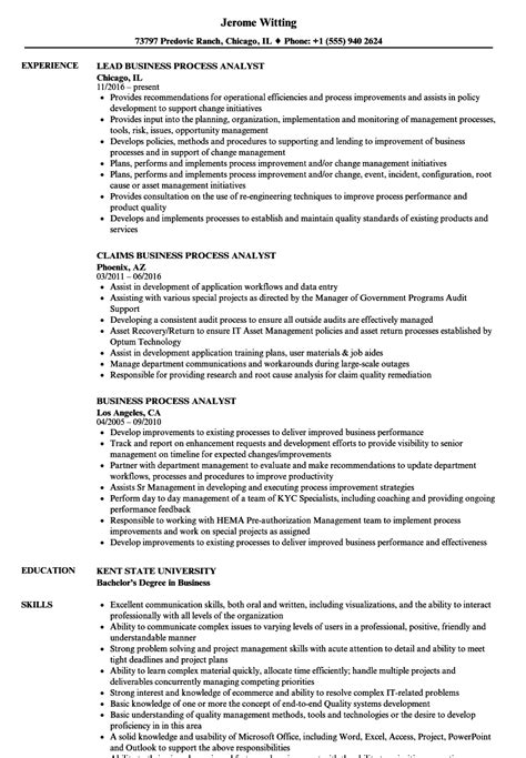 Analyst Resume by Business Process Analyst Resume Sles Velvet