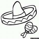 Sombrero Coloring Printable Pages Spanish Mexican Hat Cinco Clipart Mayo Clip Maracas Class Fiesta Template Crafts Hats Props Mexico Templates sketch template