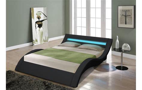 led chambre lit king size noir 180 cm avec sommier et bande led