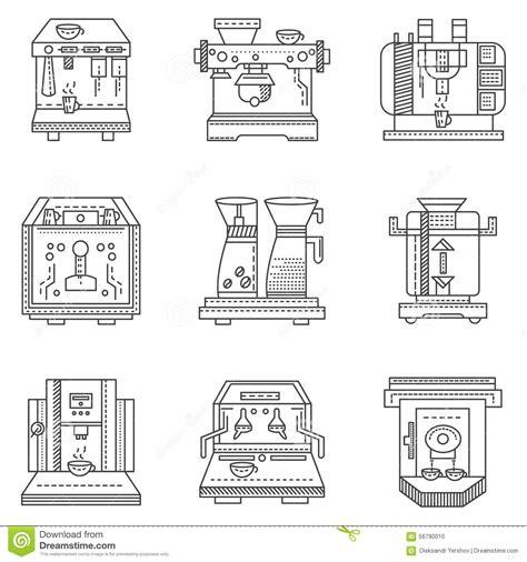Professional Coffee Machines Flat Line Icons Stock Illustration   Image: 56790010