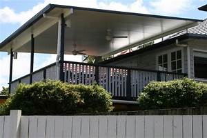 brisbane deck and flyover patio roof timber balustrade With outdoor lighting queenslander