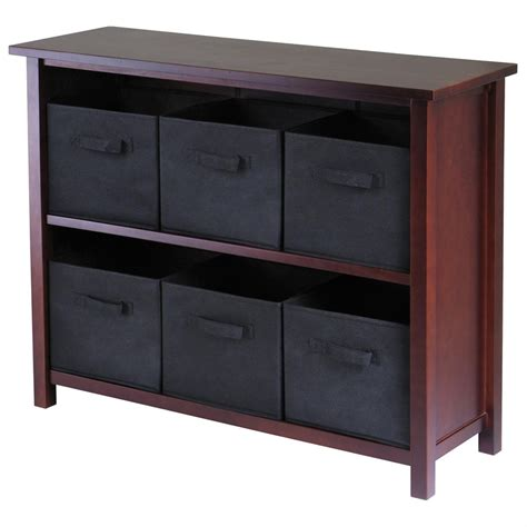 Black Bookcase With Baskets by Winsome 174 Verona 2 Section Storage Shelf With 6 Foldable