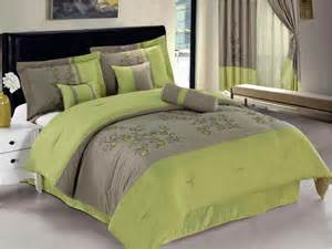 7 pc embroidered spring flower comforter set bed in a bag queen lime green beige