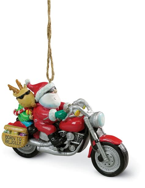 santa harley motorcycle hog chopper christmas ornament ebay