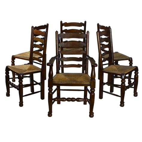 traditional english solid oak ladder back rush seat set 6
