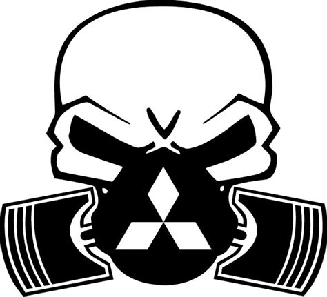 Mitsubishi Decal by Mitsubishi Piston Gas Mask Skull Decal Sticker 06