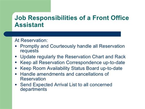 front desk officer duties and responsibilities introduction to hotel front office