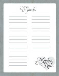 bridal shower registry checklist printable wedding guest book pages